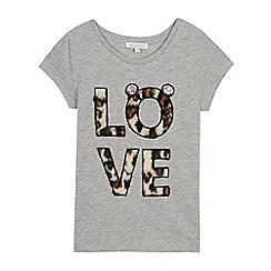 bluezoo - Girls' Grey Faux Fur 'Love' T-Shirt
