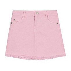 bluezoo - Girls' Pink Frayed Hem Denim Skirt