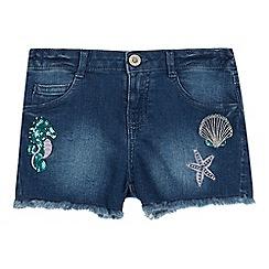 bluezoo - Girls' Mid Blue Lace Trim Denim Shorts