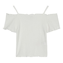 bluezoo - Girls' White Shirred Cold Shoulder Top