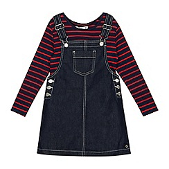 J by Jasper Conran - Girls' Navy Denim Pinafore and Striped Top Set