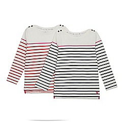 J by Jasper Conran - 2 Pack Girls' Off White Breton Stripe Tops