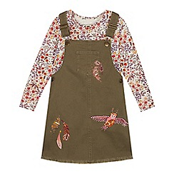 Mantaray - Girls' Khaki Denim Pinafore and Floral Print Top Set