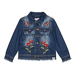 Mantaray - Girls' Blue Denim Embroidered Patch Jacket