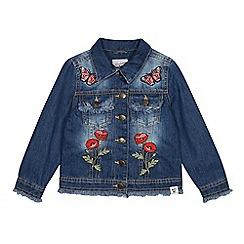 Mantaray - Girls' Blue Denim Embroidered Patch Jacket