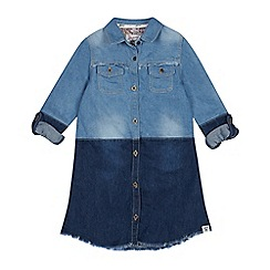 Mantaray - Girls' Blue Patchwork Denim Shirt Dress