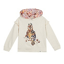 Mantaray - Girls' Cream Owl Print Hooded Sweatshirt