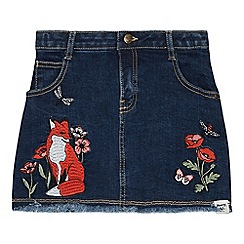 Mantaray - Girls' Blue Poppy Embroidered Denim Skirt