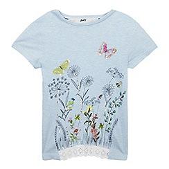 Mantaray - Girls' Blue Marl Botanical Print T-Shirt