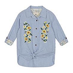 Mantaray - Girls' Light Blue Daisy Embroidered Shirt