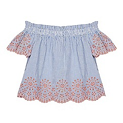 Mantaray - Girls' Light Blue Striped Broderie Anglaise Smock Top