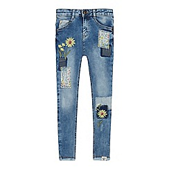 Mantaray - Girls' Light Blue Floral Embroidered Skinny Jeans