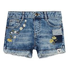 Mantaray - Girls' Light Blue Daisy Denim Shorts