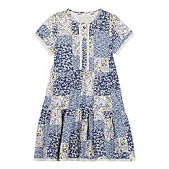 Mantaray - Girls' Blue Floral Print Tiered Dress