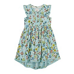 Mantaray - Girls' Bright Turquoise Floral Print Dress