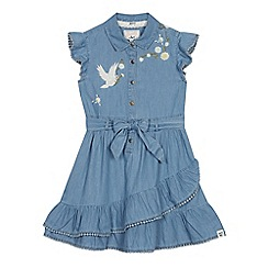Mantaray - Girls' Blue Chambray Embroidered Daisy Dress