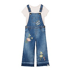 Mantaray - Girls' Blue Floral Embroidered Wide Leg Denim Dungarees and T-Shirt Set