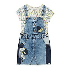 Mantaray - Girls' Light Blue Floral Denim Pinafore and Top Set