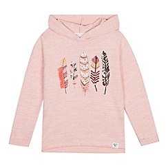 Mantaray - Girls' Pink Embroidered Feather Hoodie