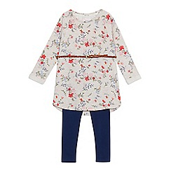 Mantaray - Girls' natural floral print dress and leggings set