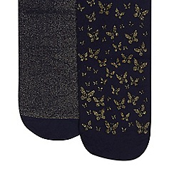 Debenhams - Pack of two girl's navy and gold glitter butterfly tights