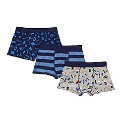 Debenhams - Pack of three blue printed trunks