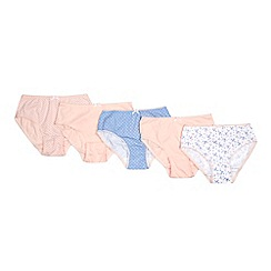 Debenhams - 5 pack girls' assorted plain and printed cotton briefs