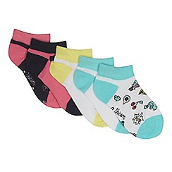 Debenhams - Pack of five girls' assorted plain and patterned trainer socks