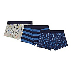 Debenhams - 'Boys' 3 pack navy and grey printed trunks