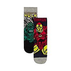 Marvel - 'Pack of two boys' multi-coloured Marvel print socks