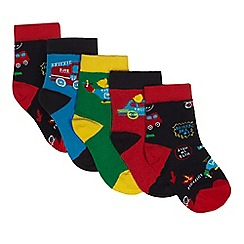 Debenhams - Pack of five boys' assorted vehicle patterned socks