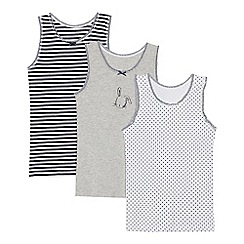 Debenhams - 3 Pack Girls' Navy Printed Vests