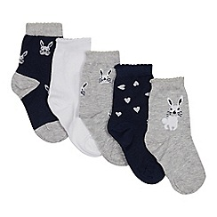 Debenhams - Pack of 5 Girls' Assorted Bunny Socks