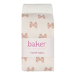 Baker by Ted Baker - 2 pack girls' pink bow print tights