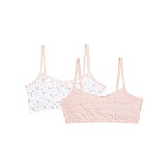 Debenhams - Pack of two girls' pink ditsy print crop tops