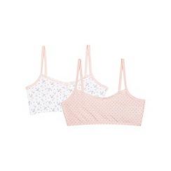 Debenhams - Pack of two girls' pink ditsy print crop tops