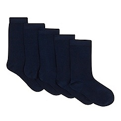 Debenhams - Pack of five boys' navy stay fresh feet socks