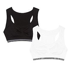 Debenhams - Pack of two girl's black crop tops