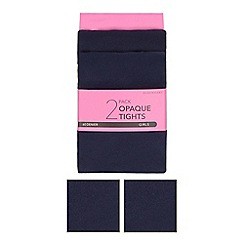 Debenhams - Girl's pack of two navy 60 Denier tights
