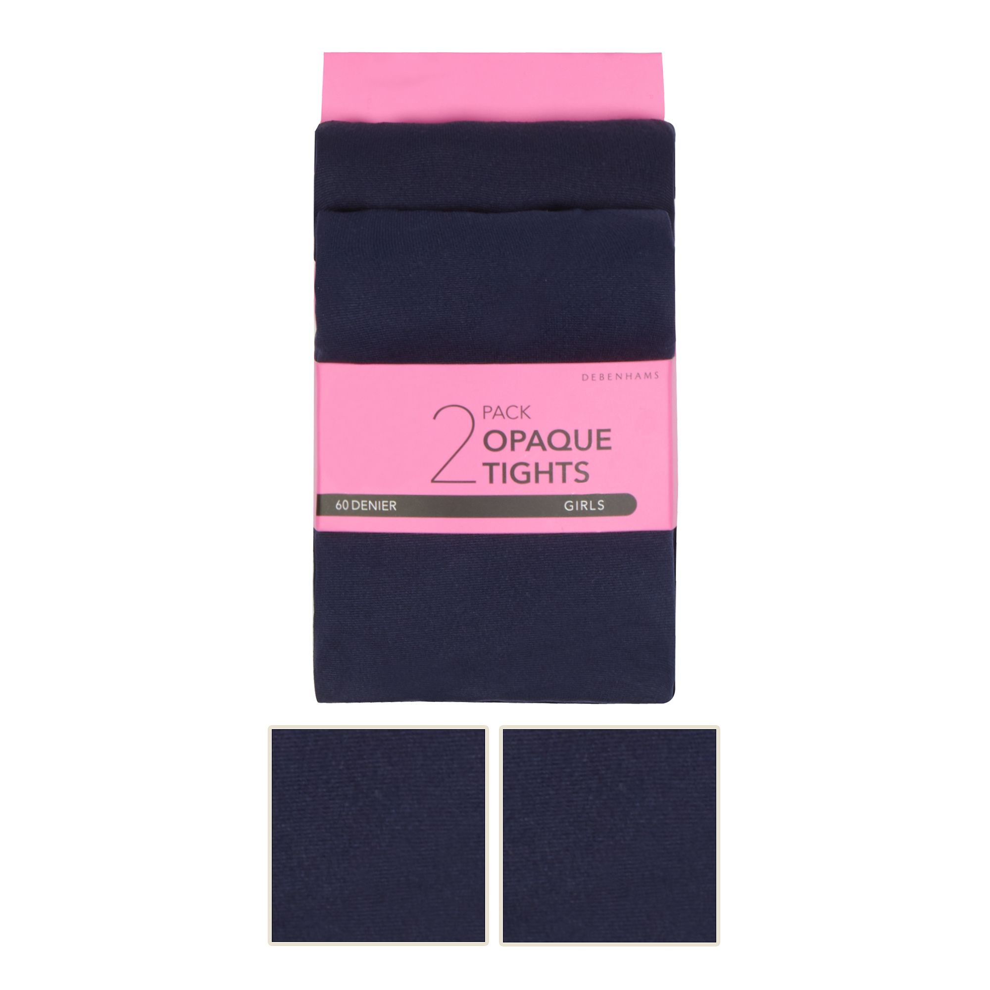 8c6da3f07eb Responsive image. FREE Standard Delivery on orders over £45. Debenhams Kids  Girl s Pack Of Two Navy 60 Denier Tights