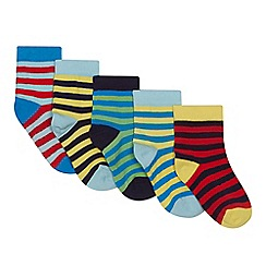 Debenhams - Boys' 5 pack assorted striped socks