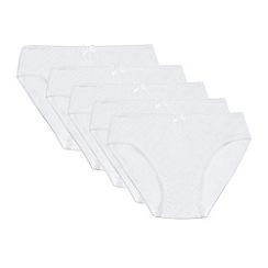 Debenhams - Pack of five girls' white briefs