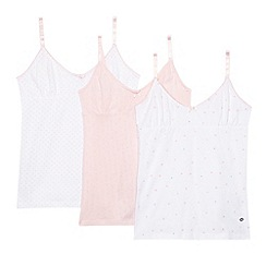 J by Jasper Conran - Pack of three girls' white and pink printed vests