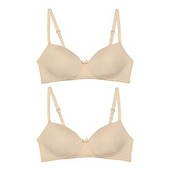 Debenhams - '2 pack girls' natural non-wired moulded bras