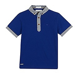J by Jasper Conran - Boys' blue gingham print trim polo shirt