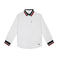 Ben Sherman - Boys' white ribbed Oxford shirt