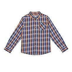 Ben Sherman - Boys' grey and orange checked shirt