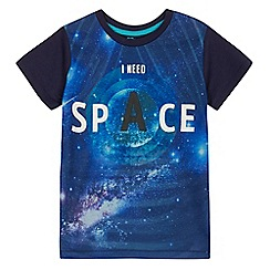 bluezoo - Boys' navy 'I need space' print t-shirt
