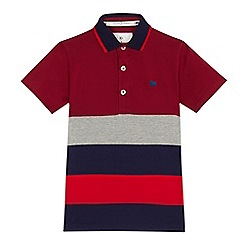 J by Jasper Conran - Boys' dark red striped polo shirt
