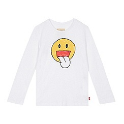 Levi's - Boys' white smiley face print top